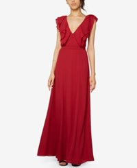 Fame And Partners Ruffle V Neck Georgette Gown Burgundy
