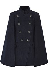 Balmain Pierre Double Breasted Felt Cape Midnight Blue