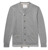 Sacai Slim Fit Shell Trimmed Cotton And Cashmere Blend Cardigan Gray