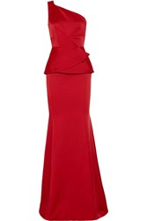 Roland Mouret Hogarth One Shoulder Hammered Satin Gown