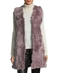 Neiman Marcus Long Rabbit Fur Vest Mauve