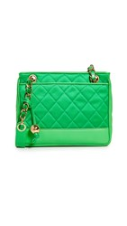 Wgaca What Goes Around Comes Around Chanel Lambskin Shoulder Bag Green