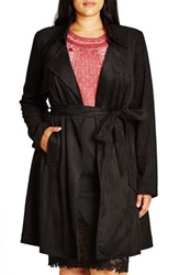 City Chic Plus Size Women's Faux Suede Trench Coat