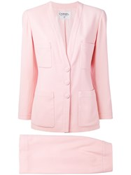 Chanel Vintage Two Piece Suit Pink And Purple