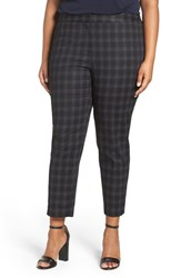 Sejour Plus Size Women's Plaid Stretch Cotton Blend Ankle Pants Black Grey Plaid Print