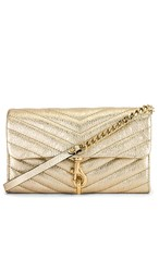 Rebecca Minkoff Edie Wallet On Chain In Metallic Gold.