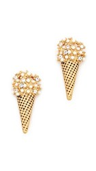 Marc Jacobs Ice Cream Stud Earrings Antique Gold