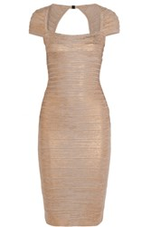 Herve Leger Metallic Bandage Dress Bronze