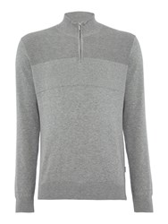 Peter Werth Men's Clough Fine Gauge Cotton Jumper Silver Marl
