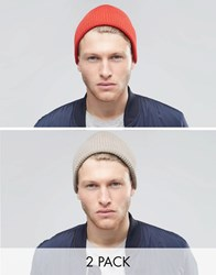 Asos Fisherman Beanie 2 Pack In Light Grey And Red Multi