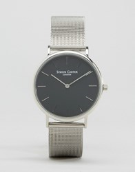 Simon Carter Mesh Strap Watch In Silver Silver