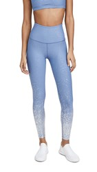 Beyond Yoga High Waisted Alloy Ombre Midi Leggings Serene Blue Silver Speckle