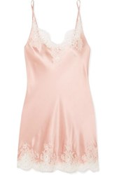 I.D. Sarrieri Hotel Particulier Chantilly Lace Trimmed Silk Blend Satin Chemise Peach