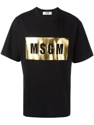Msgm Metallic Logo T Shirt Black