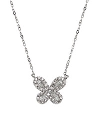 Lord And Taylor Diamond And 14K White Gold Butterfly Pendant Necklace