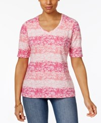 Karen Scott Elbow Sleeve Shell Print Top Only At Macy's Peony Coral