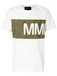 Mr And Mrs Italy Distressed Logo Panel T Shirt White