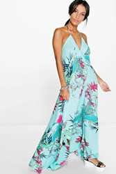 Boohoo Tropical Halter Maxi Dress Turquoise