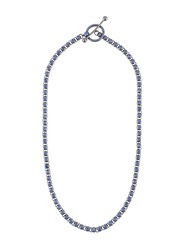 Eddie Borgo Crystal Embellished Link Necklace Blue