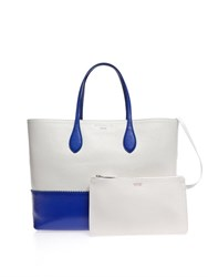 Rochas East West Bi Colour Tote Blue