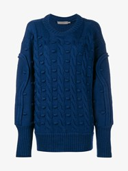 Preen Line Oversized Cable Knit Wool Sweater Blue Black