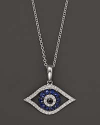 Bloomingdale's Diamond And Sapphire Evil Eye Pendant Necklace In 14K White Gold 18 No Color