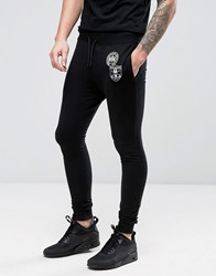 Only And Sons Skinny Sweatpants With Badges Black