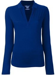 Majestic Filatures V Neck Open Collar Shirt Blue