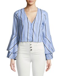 Red Carter Striped Flare Sleeve Crop Top Blue Pattern