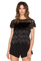 Alexis Marvin Fringe Crop Top Black