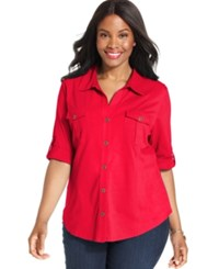 Style And Co Plus Size Three Quarter Sleeve Utility Shirt New Red Amore