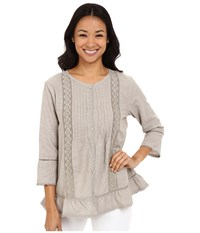 Dylan By True Grit Textured Slub Cotton Crochet And Ruffle Chemise Faded Olive Women's Long Sleeve Button Up