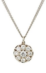 Renee Lewis Women's White Diamond Disc Pendant Necklace Colorless