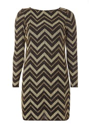 Dorothy Perkins Gold And Black Chevron Stripe Shift Dress Yellow