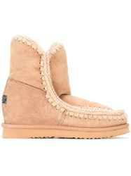 Mou Hidden Wedge Eskimo Boots Nude And Neutrals