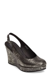 Five Worlds Women's Alejo Slingback Platform Wedge Pewter Leather