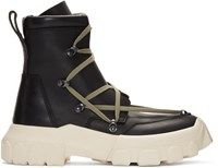 Rick Owens Black And White Hiking Lace Up Boots