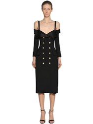 Faith Connexion Double Breasted Wool Dress W Straps Black