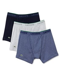 Lacoste Supima Cotton Solid Boxer Briefs Pack Of 3 Cargo Navy Grey
