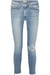 Mother The Stunner Distressed High Rise Stretch Skinny Jeans Mid Denim