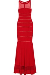 Mikael Aghal Fluted Paneled Tulle And Stretch Cady Gown Red
