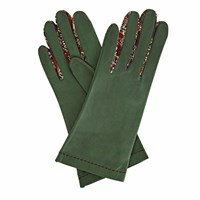 Gizelle Renee Philomena Green Leather Gloves With Bm Liberty Tana Lawn