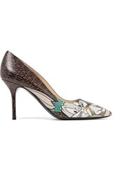 Moschino Printed Leather Pumps Chocolate