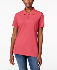 Karen Scott Short Sleeve Polo Top Only At Macy's Peony Coral