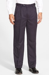 Men's Berle Self Sizer Waist Pleated Trousers Navy