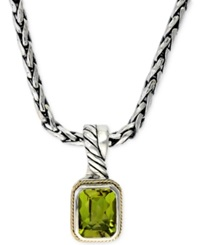 Effy Collection Effy Peridot Pendant Necklace In 18K Gold And Sterling Silver 2 2 3 Ct. T.W.