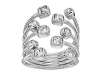 Michael Kors Mixed Shape Cz Set Stone Statement Open Statement Ring Silver Ring