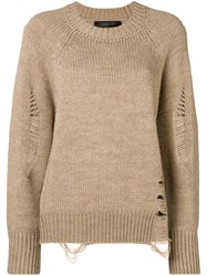 Federica Tosi Distressed Loose Jumper Nude And Neutrals