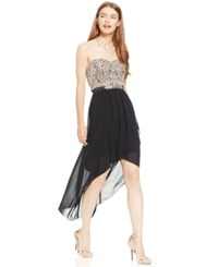 Amy Byer Bcx Juniors' Sequin Lace Strapless High Low Dress Black Blush