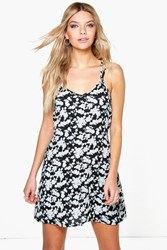 Boohoo Floral Print Woven Swing Dress Black